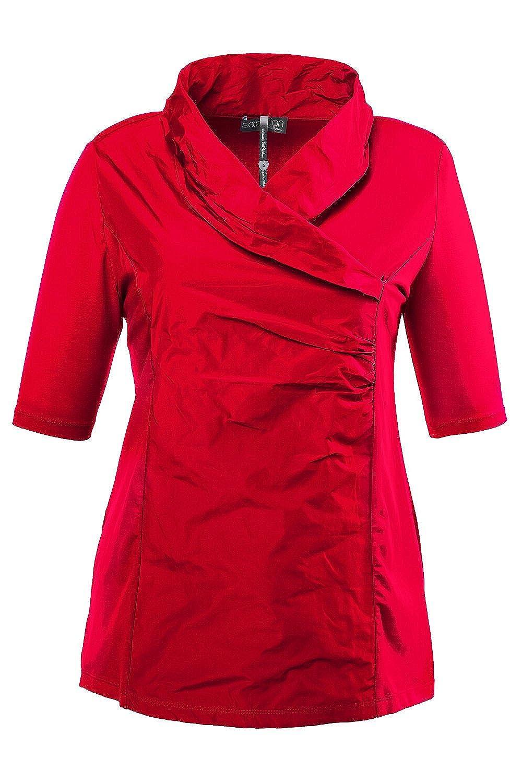 Ulla Popken Damen große Größen bis 62 64   TAFT-Shirt   Schalkragen, Wickeloptik, Jersey   Regular Fit   683894 B00HQ6QGSG T-Shirts Elegant natürlich