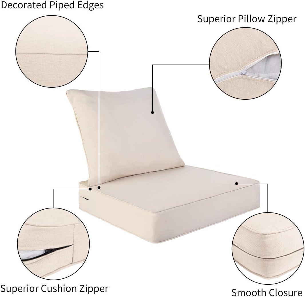 AAAAAcessories Outdoor/Indoor Water-Resistant Deep Seat Chair Cushion Set, Replacement Patio Furniture Cushions, 24 x 24 x 5 Inch, Beige : Garden & Outdoor