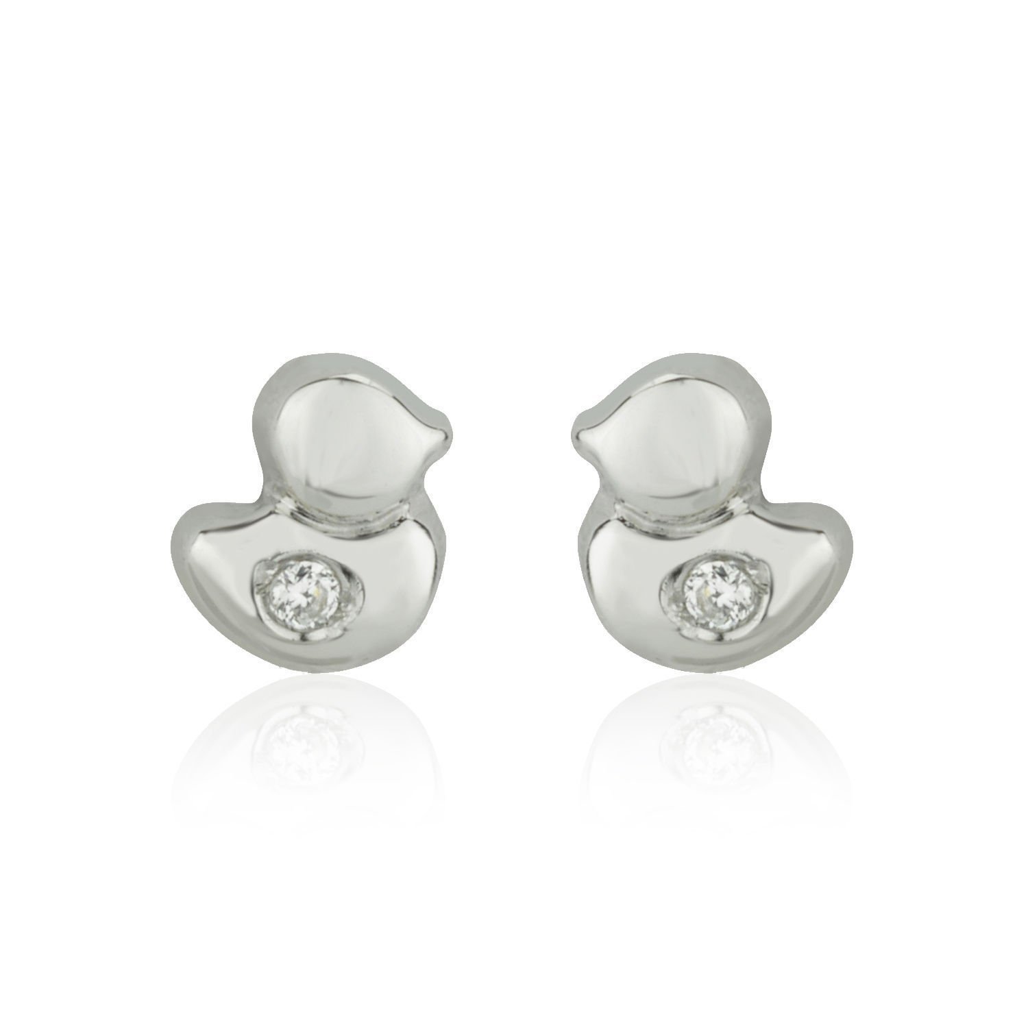 14K White Gold Chick with Round Cubic Zirconia Screwback Stud Earrings Girl Teens Jewelry Gift