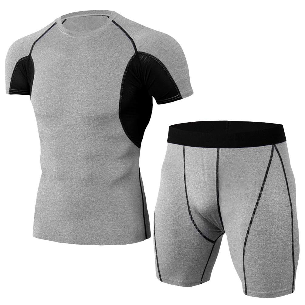 Yujeet Männer Sport Compression Sets Schnell Trocknend Fitness Kurzarm T-Shirt & Herren Bodybuilding Fitness Shorts