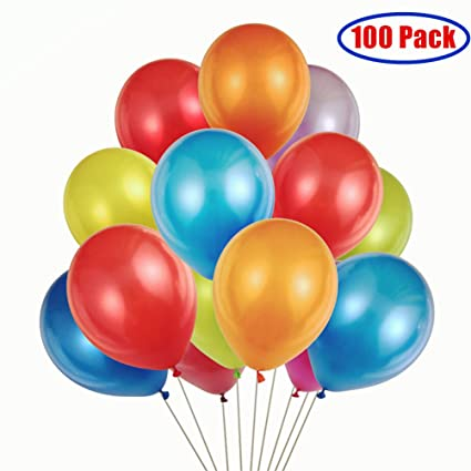 amazon com party balloons 100 12 inches rainbow set 100 pack
