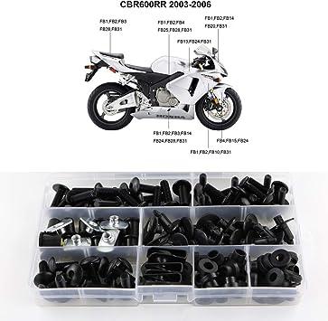 Complete Black Fairing Bolt Kit body screws for Honda CBR 600 RR 2003-2004
