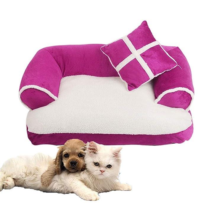 LA VIE Cama Sofá para Mascotas Lavable Extraíble con Almohada Colchoneta Cama Nido Suave Acogedor para Perros Pet Dog Bed L en Roja: Amazon.es: Productos ...