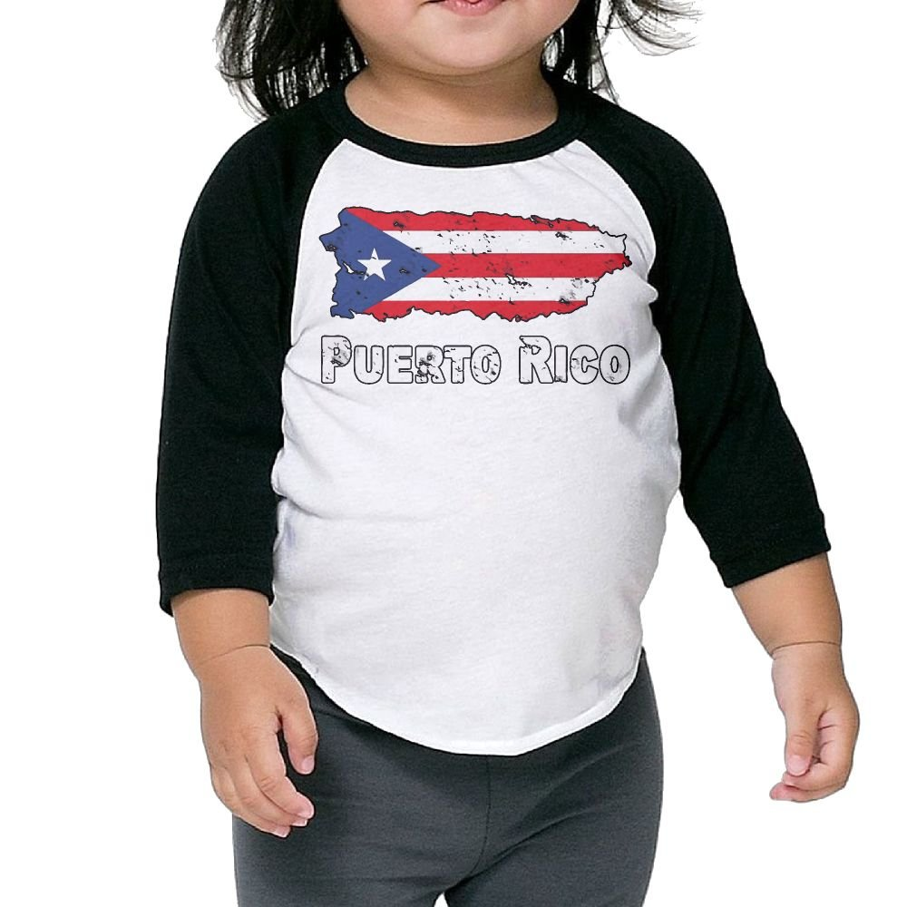 Support Puerto Rico Unisex Kids 3//4 Sleeves Raglan T Shirts Child Youth Slim Fit Sports Uniforms Puerto Rico Flag