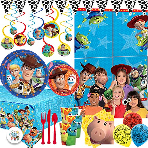 Mega Toy Story 4 Birthday Party Party Pack For 16 With Dinner and Dessert Plates, Napkins, Tablecover, Cup, Swilrs, Balloons, Cutlery, Scene Setter and Photo Props, Western Pennant Banner, and Pin (Decorations 4 Birthday)