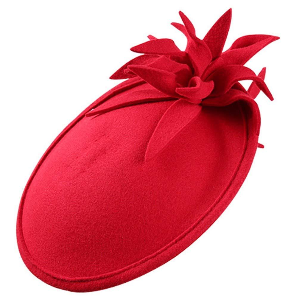 YUTING ☀‿☀ Donna Ragazze Cerimonia Cappello con La Veletta Cappello A Cilindro Berretto Donne Cappelli Cerimonia Piuma Fiore Partito Matrimonio Cappello