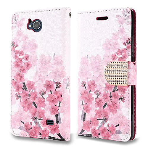 Zte Majesty Pro   Majesty Pro Plus Case   Synthetic Pu Leather Wallet Carrying Holder Pouch Case  Card Slots   Bill Fold  With Magnetic Flip Closure Cover    Cherry Blossom  And Atom Led