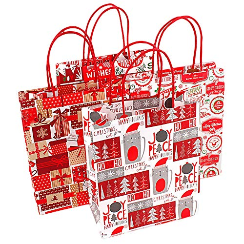 wsloftyGYd Christmas Style Kraft Paper Shopping Clothes Xmas Gift Candy Packaging Tote Bag Christmas Tote Bag Gift Bag Paper Bag Creative Gift Bag Costume Packing Bag Random Style S