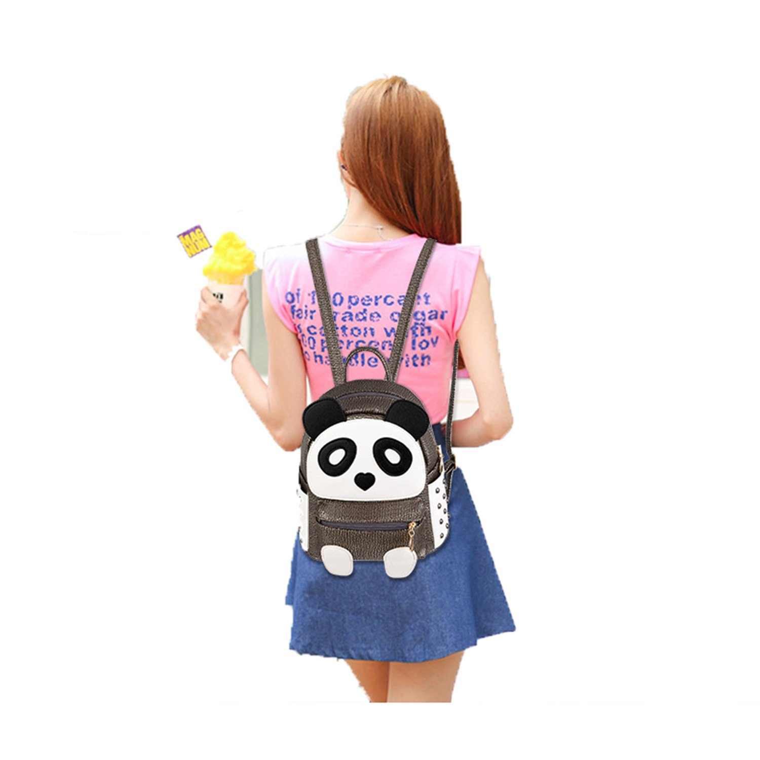 H&N Fashion PU Rivet Bronze Mini Casual Style Panda Backpack/ Shoulder/ Book Bag by H&N (Image #2)