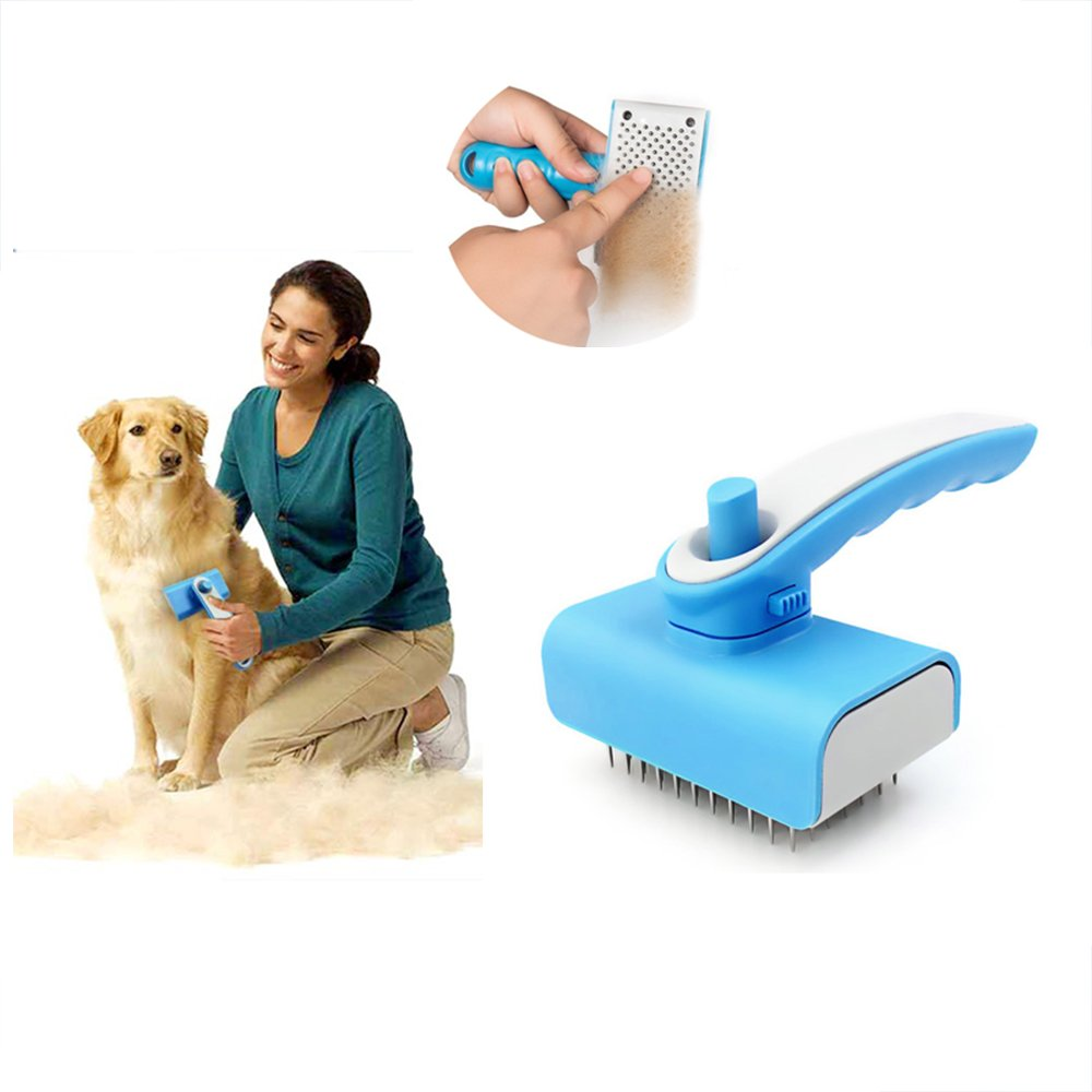 Getyic Grooming Brush For Long & Short Hair Dogs, Self Cleaning Brush,Pet Shedding Grooming Tools