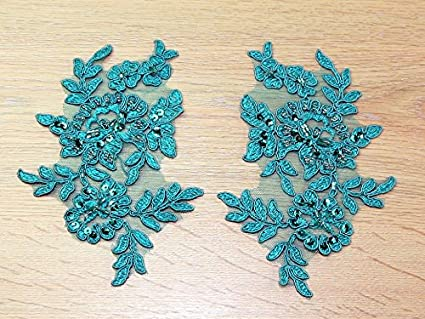 Mm beaded turquoise couture bridal lace appliques per