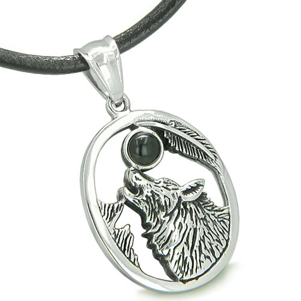 Amulet Courage Howling Wolf Simulated Black Onyx Moon Crystal Lucky Charm Pendant Necklace
