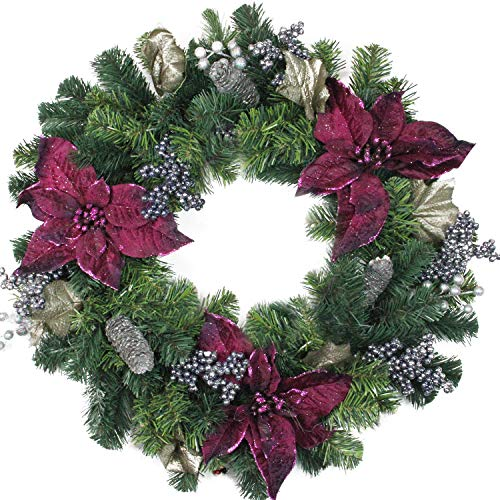(Northlight Purple Poinsettia and Silver Pinecone Two-Tone Pine Christmas Wreath - 24-Inch, Unlit)