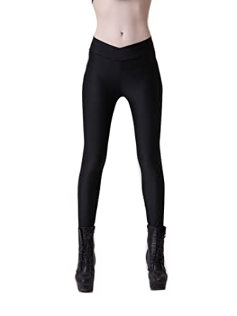 6eaaa08056975 YiYaYo Womens Fashion High Waist Neon Stretch Shiny Basic Spandex Yoga  Leggings Black S
