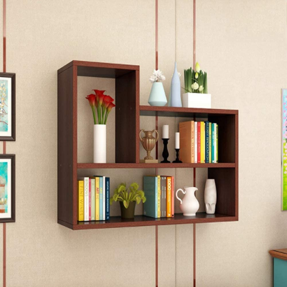 Kgdc Wall Shelves Perforated Bookshelf Bedroom Dormitory Dining Room Living Room Wall Cabinet Wall Mounted Partition Storage Cabinet Teak Amazon Co Uk Kitchen Home