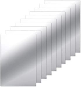 BBTO 10 Pieces Mirror Sheets Self Adhesive Non Glass Mirror Tiles Wall Sticky Mirror (6 x 9 Inch)