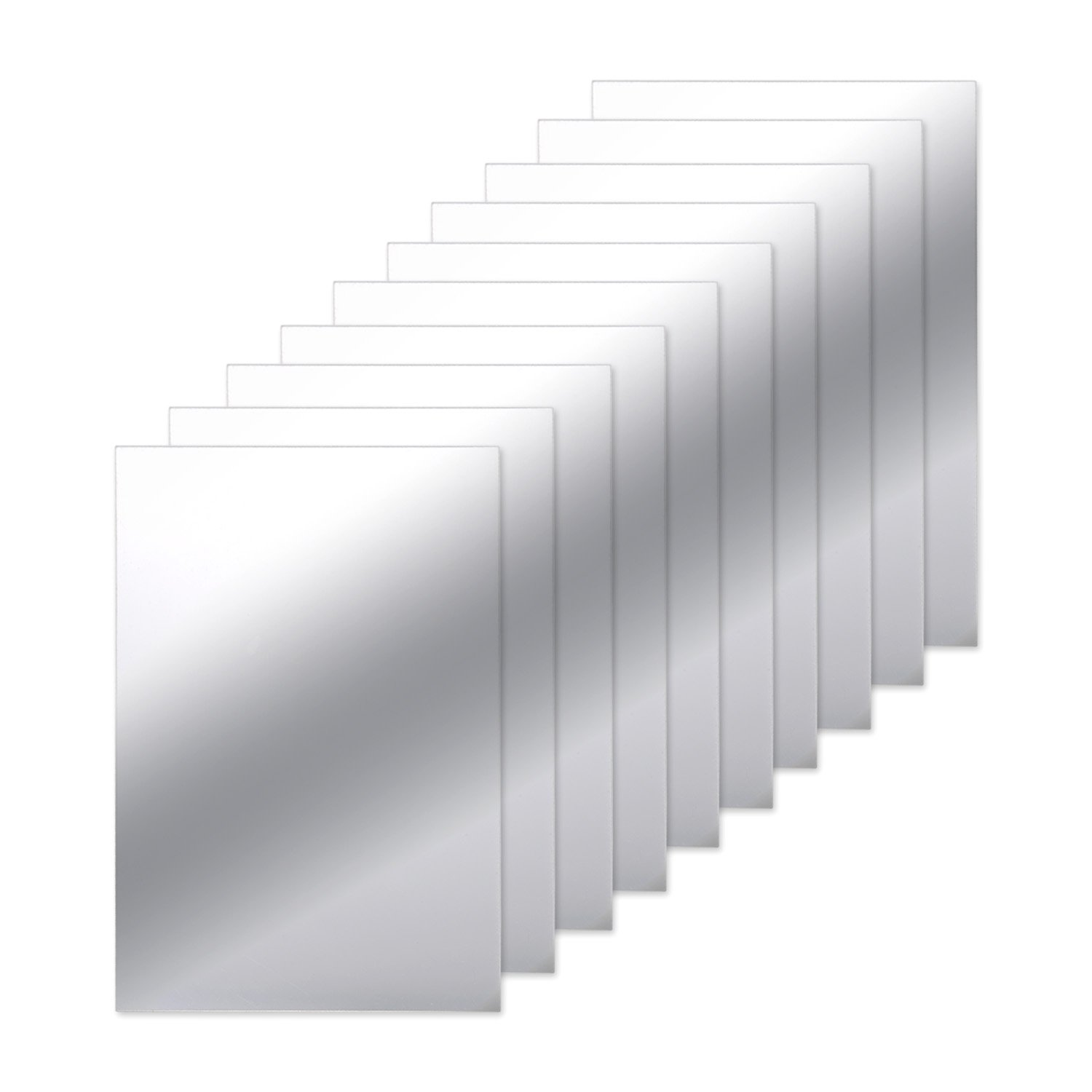 BBTO 10 Pieces Mirror Sheets Self Adhesive Non Glass Mirror Tiles Wall Sticky Mirror, 9 by 6 Inches EXPS034800
