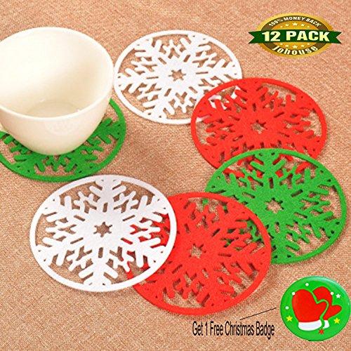 Christmas Snowflake Coasters, Snowflakes Cup Coaster Insulation Coasters Christmas Decorations Dinner for Standard Coffee Mugs Glasses and Beverage, 12 PCS (Snowflake Christmas Mug)