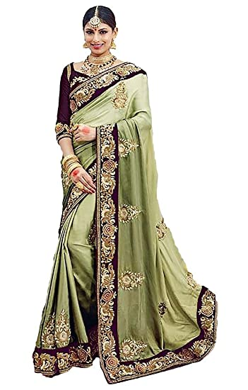 6459debb84 Amazon.com: INMONARCH Womens Green and Brown Satin Silk Partywear Saree  SKI3601: Clothing