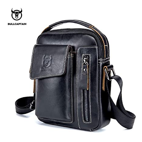 011a0c6cbe Image Unavailable. Image not available for. Color  BULLCAPTAIN Genuine  Leather Men Messenger Bag Casual Crossbody ...