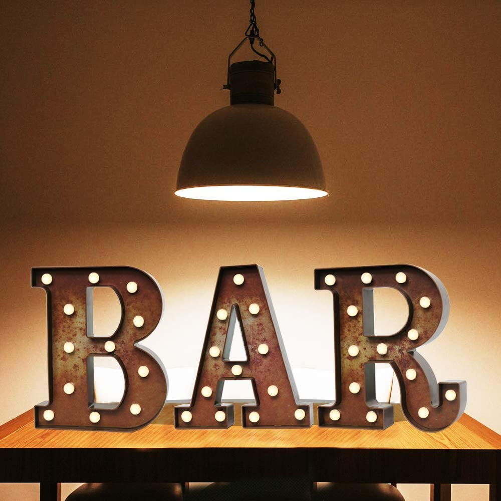 Oycbuzo Light Up LED Vintage Bar Letters with Lights – Lighted Illuminated Industrial Marquee Bar Sign Lamp – Night Light for Bar, Pub, Bistro, Party, Wall Decor (Rust BAR)