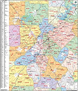 Metro Atlanta Zip Code Wall Map Laminated 2020 Aero Surveys Of