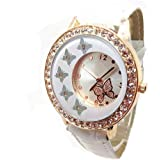 Fashion Women's Crystal Butterfly Decoration PU Leather Quartz Watch Ladies Watches