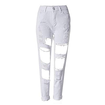 Saoye Fashion Pantalones De Mezclilla para Mujer Destruido Color Sólido Pantalones De Ropa Mezclilla con Ajuste Delgado Botones con Bolsillos Pantalones Casuales: Ropa y accesorios
