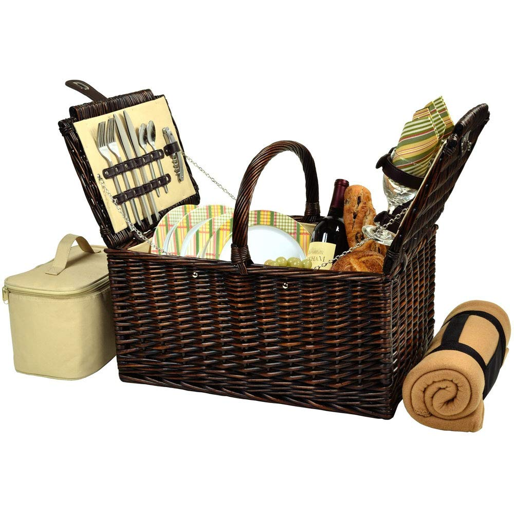 MD Group Buckingham Picnic Basket - Service for Four, 20'' x 16'' x 13.5'' x 23 lbs, Hamptons