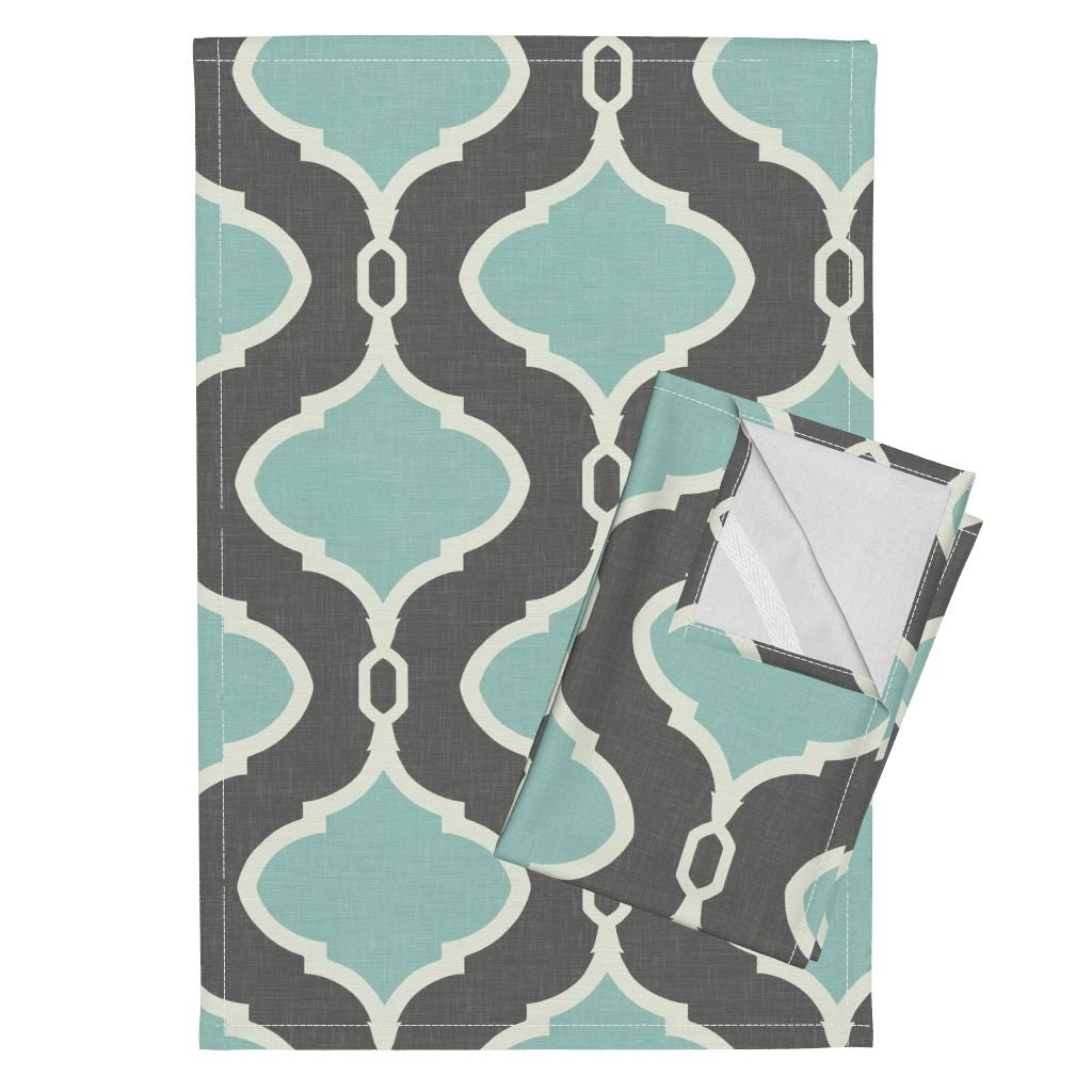 Roostery Quatrefoil Gray Light Blue Mint Spa Trellis Ogee Tea Towels Alessandra Trellis in Charcoal by Willowlanetextiles Set of 2 Linen Cotton Tea Towels
