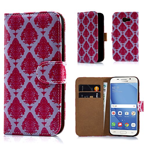 Samsung A517 Protector Case Cover (32nd Floral Design Leather Wallet Case for Samsung Galaxy A5 (2017), Designer Flower Pattern Wallet Style Case Cover With Card Slots - Magenta Damask)