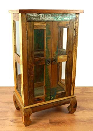 Asia Wohnstudio Colourful Teak Wood Cabinet Glass Doors Made From