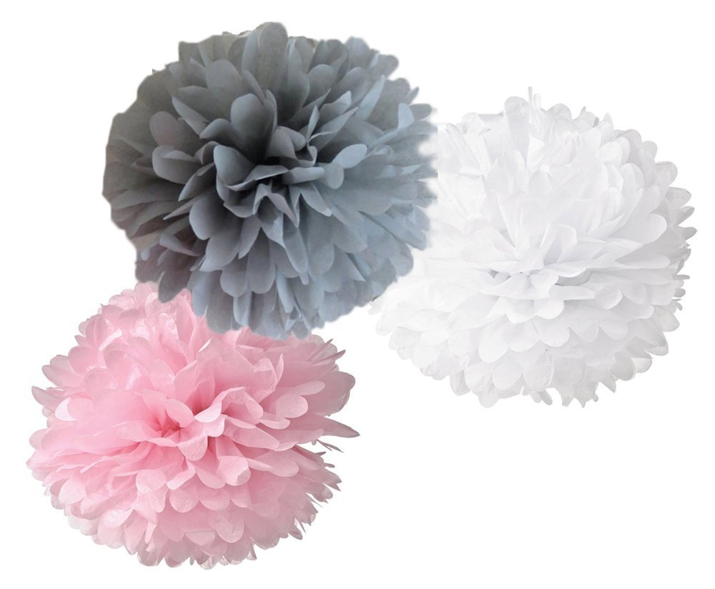 Toomeecrafts 10-inch 12pcs Mixed Pink Gray White Tissue Hanging Paper Pom Poms Flower Ball Wedding Party Outdoor Decoration Premium Tissue Paper Pom Pom Flowers