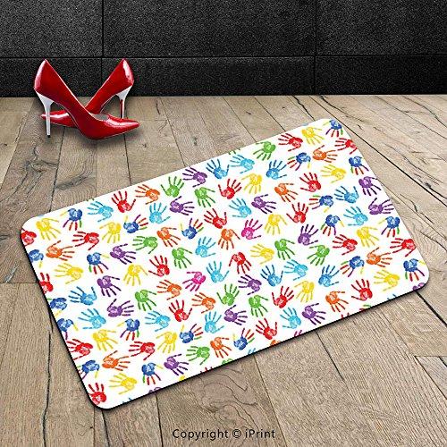 Custom Machine-washable Door Mat Colorful Decor Human Handprint Kids Watercolor Paint Effect Open Palms Collage Art Work Print Multi Indoor/Outdoor Doormat Mat Rug Carpet