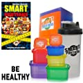 Smart Portions BPA Free 7-Piece Multi Colored Containers Kit with Shaker and Weight Loss eBook Guide for 21 Days
