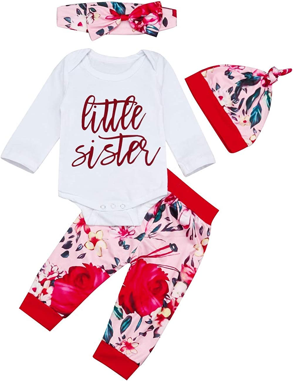 TUEMOS Newborn Baby Girl Sweet Clothes Long Sleeve Top Floral Pant with Headband 3Pcs Autumn Outfits Set