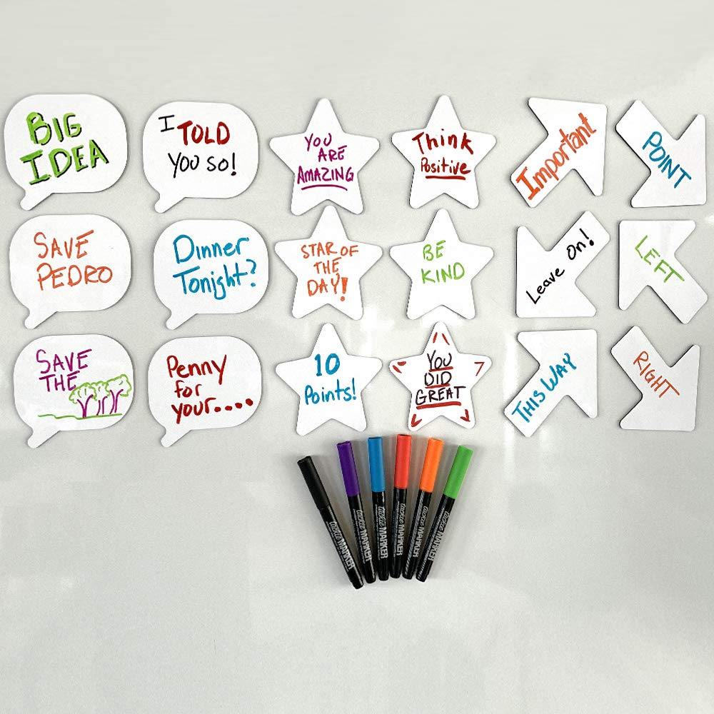 mcSquares Stickies Stars, Arrows, Bubbles Reusable Whiteboard Stickers -18 Pack- Never Buy Paper Post Notes Again, Its Eco-Friendly! with Smudge-Free Wet-Erase Markers by MC SQUARES