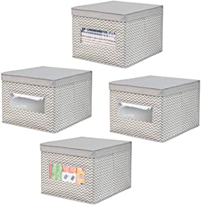 mDesign Decorative Soft Stackable Fabric Office Storage Organizer Holder Bin Box Container - Clear Window, Lid, for Cabinets, Drawers, Desks, Workspace, Large, Foldable - Chevron Print, 4 Pack - Taupe