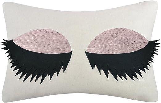 20 x 12 in Modern Eyelashes Glitter Sofa Cushion Pillow Cover Throw Pillowcase