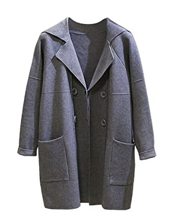 b5a6bf59aaaee6 ZhuiKun Damen Langarm Lose Strickjacke Cardigan Strickmantel Outwear Tops  Pullover Outdoor mit Tasche