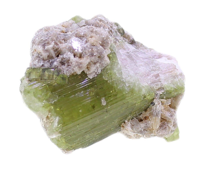 Grüne Turmalin Kristalle in Matrix Quarz, Turmalinkristall in Muttergestein