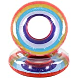 Gbell Inflatable Rainbow Swim Rings - HOT Swimming Pool Fruit Rings Float Raft for Teens Boys