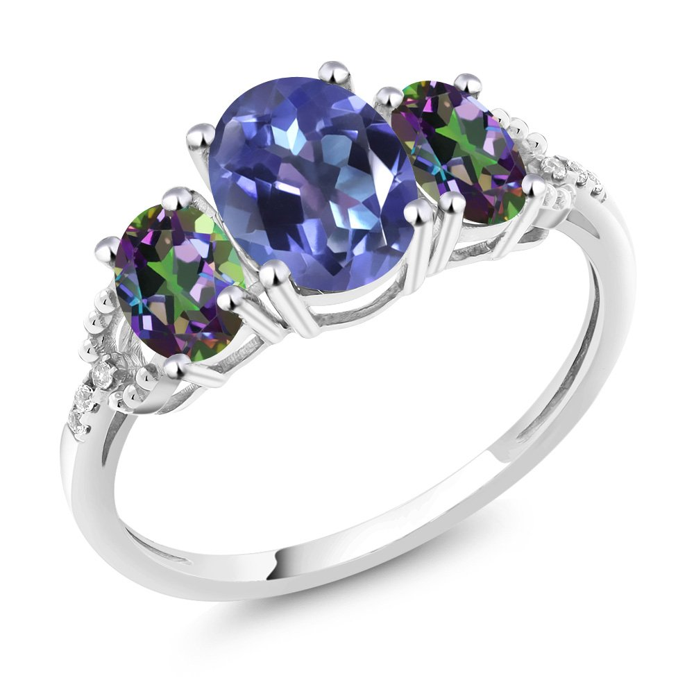 10K White Gold Diamond Accent Three-Stone Engagement Ring set with 2.35 Ct Oval Blue Mystic Topaz Green Mystic Topaz