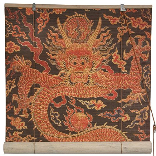 Oriental Furniture Dragon Design Bamboo Blinds - (72 in. x 72 in.)