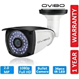 OVIBO® Bullet Camera 2MP Full HD 1080p with 36 LED's for Night Vision Compatible with DVR/CCTV