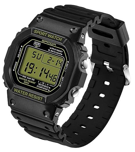 De luz de fondo LED Digital cronómetro FECHA y día deporte reloj jóvenes Casual par relojes negro + oro: Amazon.es: Relojes