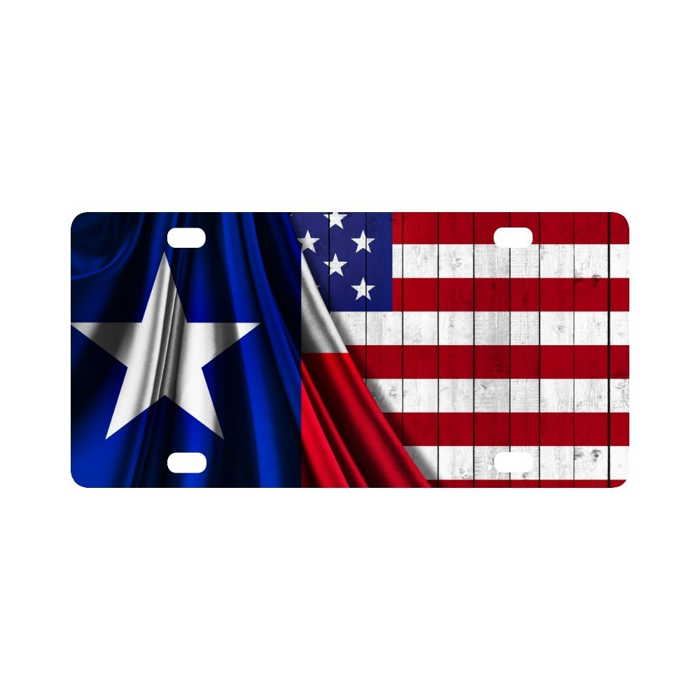 Metal Auto Tag for Woman Man InterestPrint Texas Stars Map with Texas State Flag On Wood Background Metal License Plate for Car 12 x 6 Inch