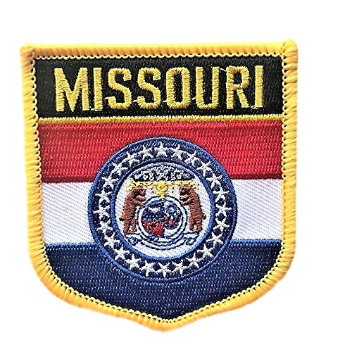 Missouri Flag Badge Patch/U.S. State Shield Shoulder Embroidered Iron-On/Sew-On Patch Collection (MO Crest, 3.00
