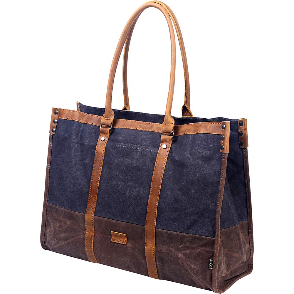 TSD The Same Direction Stone Creek Canvas Leather Trim Tote Bag Teal