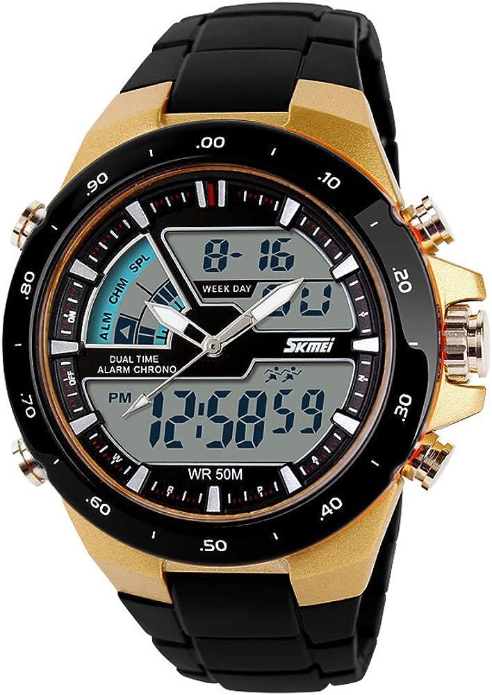SKMEI - hombre reloj deportivo digital con LED luz de fondo grande cara resistente al agua militar relojes casuales luminoso cronómetro alarma reloj simple militar–dorado